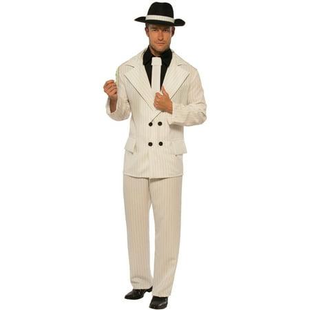 Mens 20s Underground Mobster Boss White Pinstripe Suit - 20s Mens