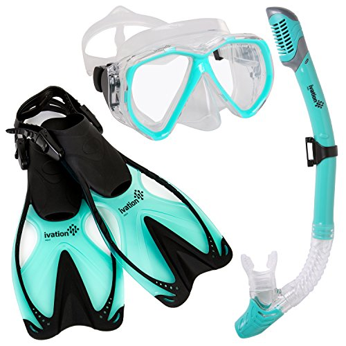 Ivation Adult Diving Gear - Snorkel Mask & Fins Set, Double Lens Mask; Snorkel w/Dry Top & Adjustable Speed Fin