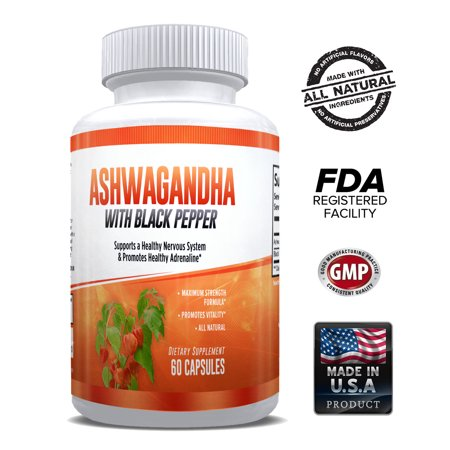 Ashwagandha Root Capsules with Black Pepper 1300mg – Stress & Anxiety Support - Mood Enhancer – Thyroid Support -  Powerful & Potent for Men & Women – 1 Month