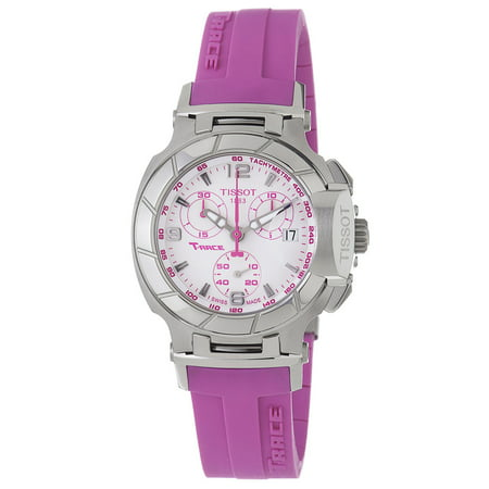 - T0482171701701 Women's T-Race Sport Chronograph White Dial Pink Rubber Strap Watch