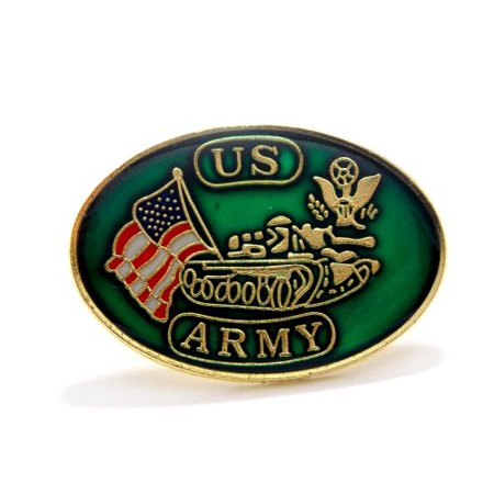 Solid Brass Lapel Pins - United States Army Tank USA Flags Lapel Hat Pin Military Brass PPM007 (1 Pin)