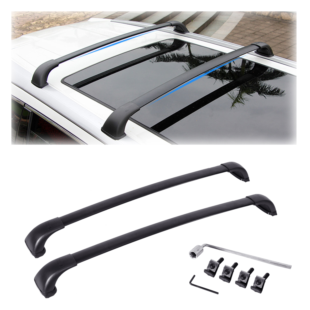 Alavente Aluminum Top Roof Cross Bars Crossbars Luggage Cargo Rackheavy Duty Car Top Carrier For 2014 2017 Toyota Highlander Le2pcs