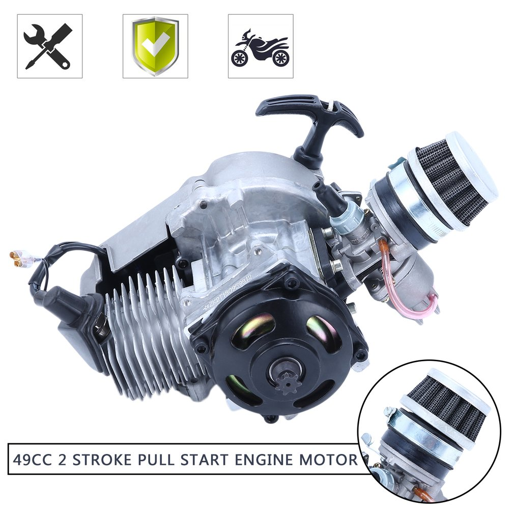 49CC 2 Stroke Pull Start Engine Motor For Bike Scooter ATV Heavy Duty Quad Engine With Carburetor Air Filter