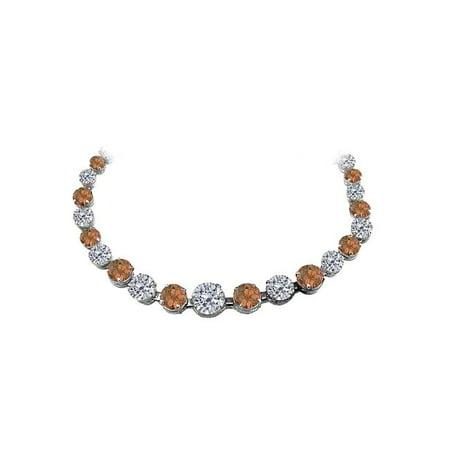 30 ct Smoky Quartz CZ Graduated Necklace 14K White Gold