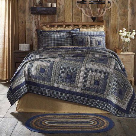 Navy Blue Rustic & Lodge Bedding Carson Blue Plaid Cotton Pre-Washed Patchwork Luxury King Quilt ()