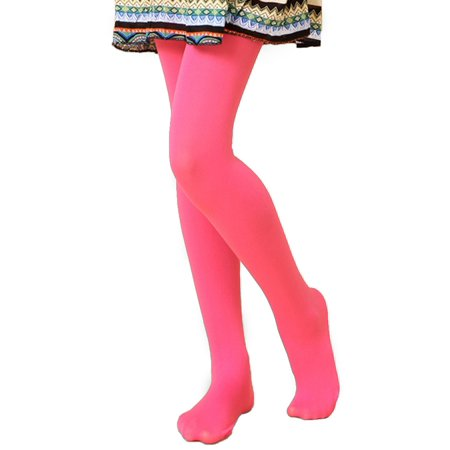 HDE Girl's Stockings Microfiber Opaque Footed Kids Tights (Pink, Medium)