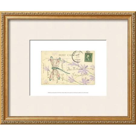 Postcard Dragonfly III Framed Art Print Wall Art  By Nancy Shumaker Pallan - (Dragonfly Postcard)