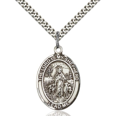 Sterling Silver Lord Is My Shepherd Pendant 1 X 3 4 Inches With Heavy Curb Chain