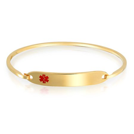 Medical Id Alert Band (Medical Identification Doctors Medical Alert ID Bangle Bracelet For Women Gold Plated Stainless)