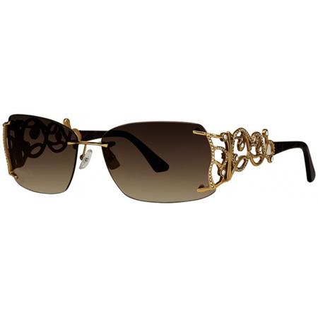 Caviar Sunglasses 6867 C 21 Gold Brown Lens Crystals Frame New Italy (Caviar Sunglasses)