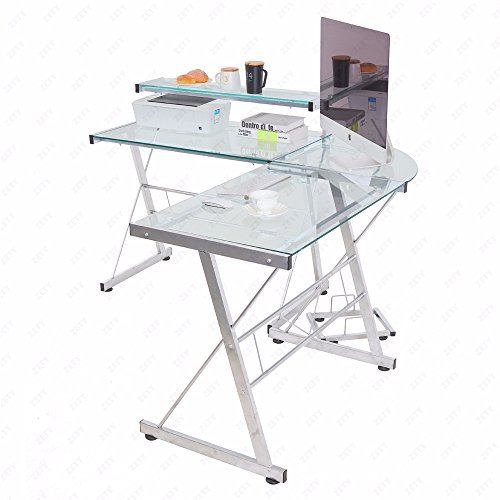 Computer Desk L-Shape Corner Glass Laptop Table Workstation Home Office Clear