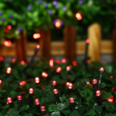Outdoor String Lights, 40ft 100 LED Waterproof Solar Decoration Lighting for Indoor/Outdoor, Patio, Lawn, Garden, and Holiday Festivals (Red)