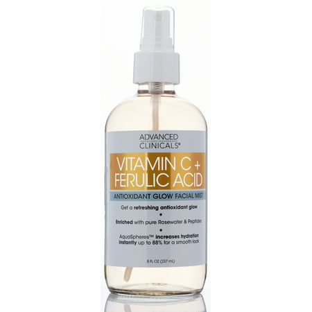Vitamin C + Ferulic Acid Antioxidant Glow Face Mist Spray  Skin Refreshing, Hydrating, and Non-Greasy Facial Toner Spray for Instant Hydration with Pure Rosewater by Advanced Clinicals, 8