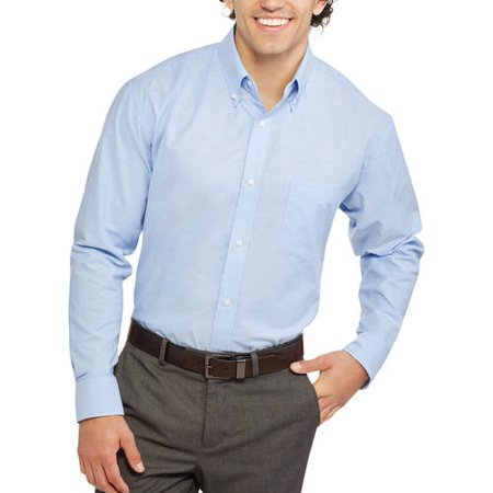 091b0e3e George - George Men's Long Sleeve Oxford Shirt - Walmart.com