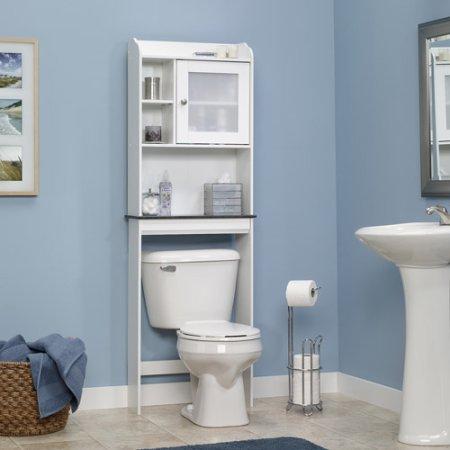 Delightful Sauder Caraway Space Saver Bathroom Cabinet, Soft White