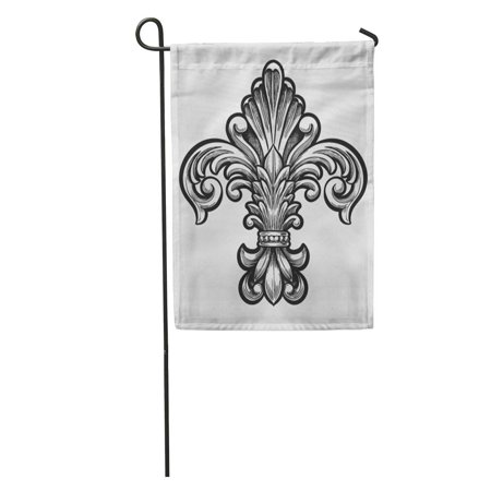 Fleur De Lys Emblem - LADDKE France Elegant Fleur De Lis Vintage Emblem Cross Gothic Scroll Garden Flag Decorative Flag House Banner 28x40 inch