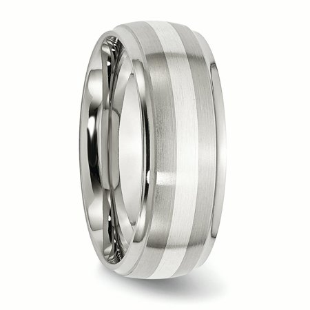 Stainless Steel 925 Sterling Silver Inlay Ridged Edge Brushed Wedding Ring Band Size 12.50 Precious Metal Fine Jewelry Gifts For Women For Her - image 5 of 10