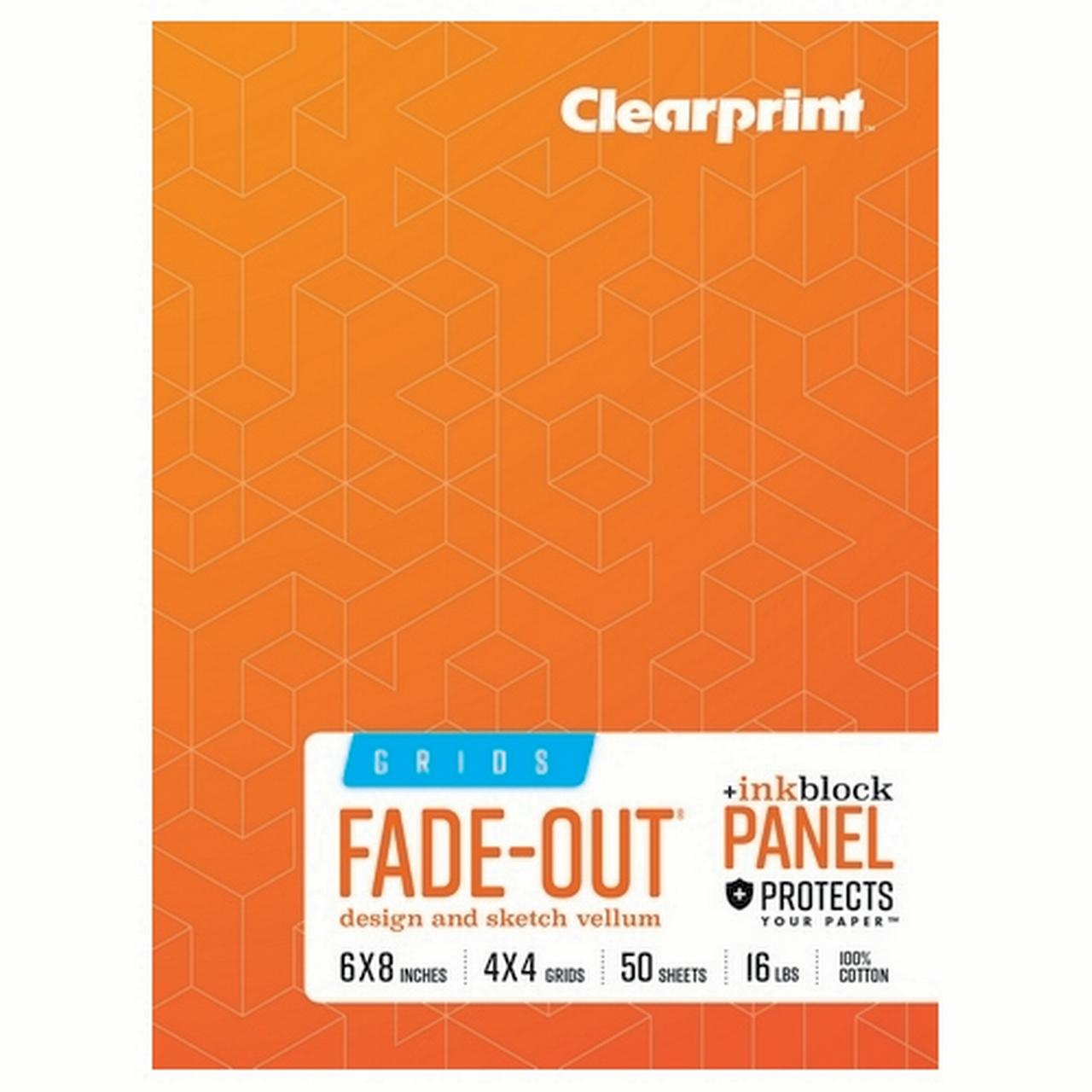 clearprint 1000h 100% cotton design vellum field book with ink block panel and 8x8 fade-out grid, 6 x 8 inches, 50 sheets per book, 1 each (cvb68g2)