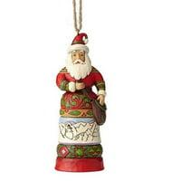 Multicolor Jim Shore Heartwood Creek 6004300 12 Days of Christmas Santa Hanging Ornament Resin,4.65 Inches