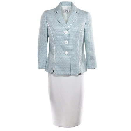 New  1888-1 Le Suit Teal White Women's Regular 3 Button Skirt Suit set Size 16W (Lightweight Three Button Suit)