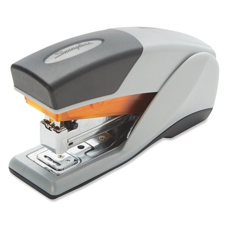 Swingline Optima 25 Reduced Effort Compact Stapler, Half Strip, 25-Sheet Cap., Gray/Orange -