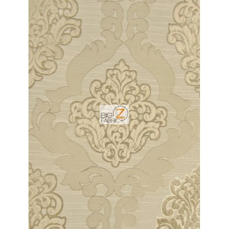Medieval 2 Tone Damask Upholstery Fabric Latte Sold By The Yard