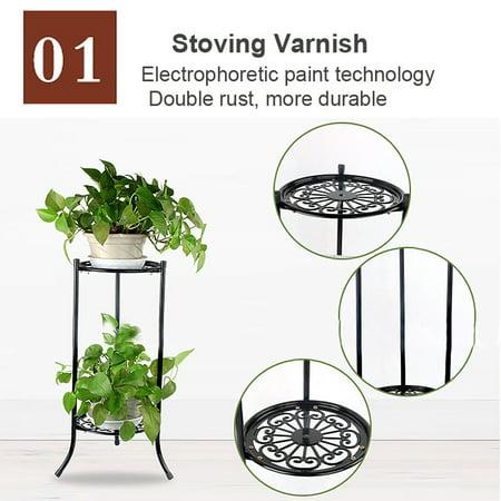 Home Elegant Metal Plant Stand Two-layer Decorative Planter Shelf Holder Flower Pot Rack Holder Gifts (Floor Planter Pot Stand)