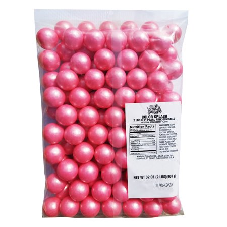 "Pink Sparkling Pearl 1"" Gumballs 2lb Strawberry Bag Baby Shower Party Candy"
