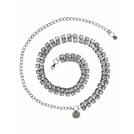 Silver Double Row Crystal Rhinestone Chain Link -