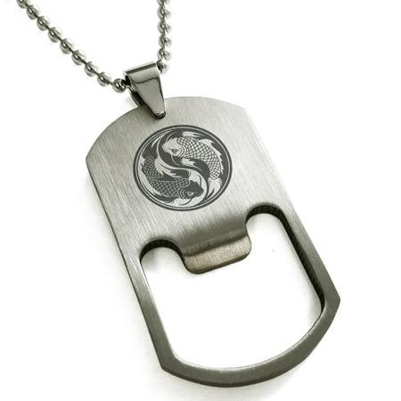 Stainless Steel Koi Fish Yin Yang Engraved Bottle Opener Dog Tag Pendant Necklace (Koi Pendent)