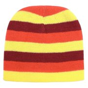 Girls Yellow Orange Brown Striped Knitted Beanie Stocking Hat