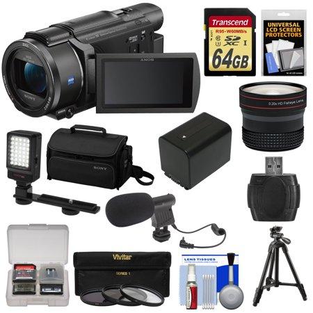 Sony Handycam FDR-AX53 Wi-Fi 4K Ultra HD Video Camera Camcorder + 64GB Card + Battery + Case + Tripod + LED Light + Mic + Filters + Fisheye Lens Kit
