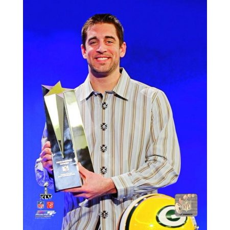 Aaron Rodgers with Super Bowl XLV MVP Trophy