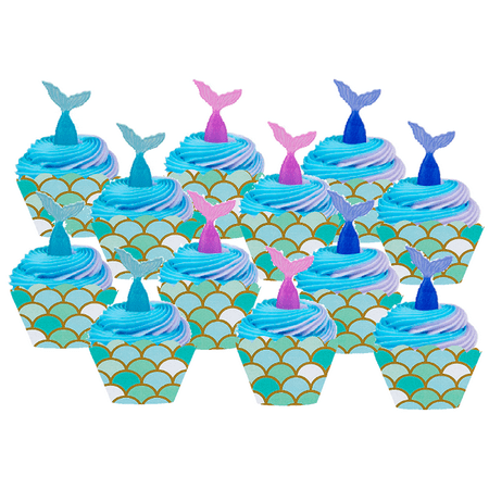 12pack Mermaid Cake / Cupake Decoration Toppers with Mermaid Cupcake Wrappers (Steelers Cupcake Toppers)