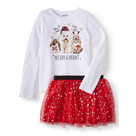Girls' Christmas Long Sleeve Graphic Tee and Foil Mesh Skirt, 2-Piece Outfit Set