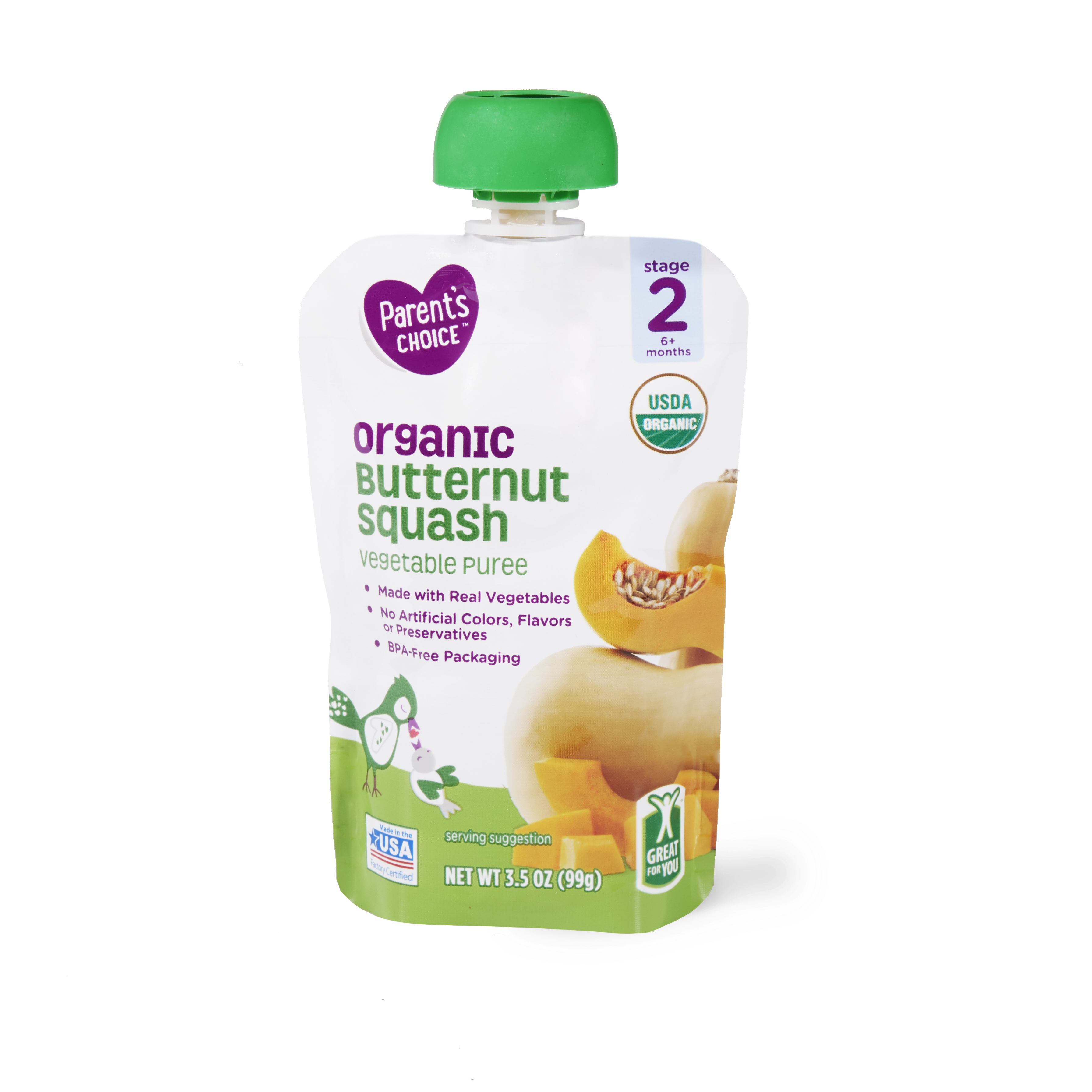 Parent's Choice Organic Butternut Squash, Stage 2, 3.5 oz Pouch