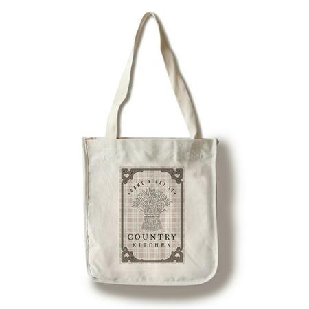 Bundles Bags - Country Kitchen - Wheat Bundle on Plaid - Lantern Press Artwork (100% Cotton Tote Bag - Reusable)