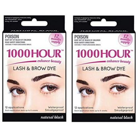 Combo Pack! 1000 Hour Eyelash & Brow Dye / Tint Kit Permanent Mascara  (Black & Black)