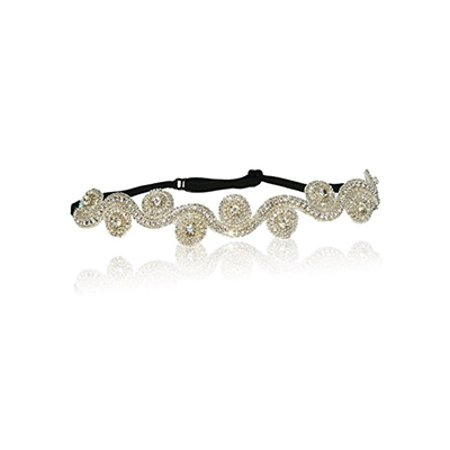 Non Slip Stretch Headband (Bridal Crystal Swirl Rhinestone Diamond Headband Adjustable Non-slip Comfortable for Wedding )