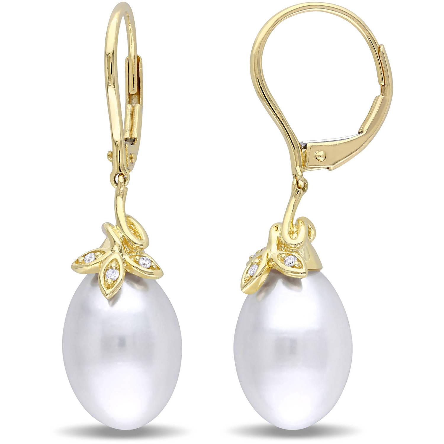 Miabella 9-10mm White Rice Cultured Freshwater Pearl and Diamond-Accent 10kt Yellow Gold Leverback Earrings