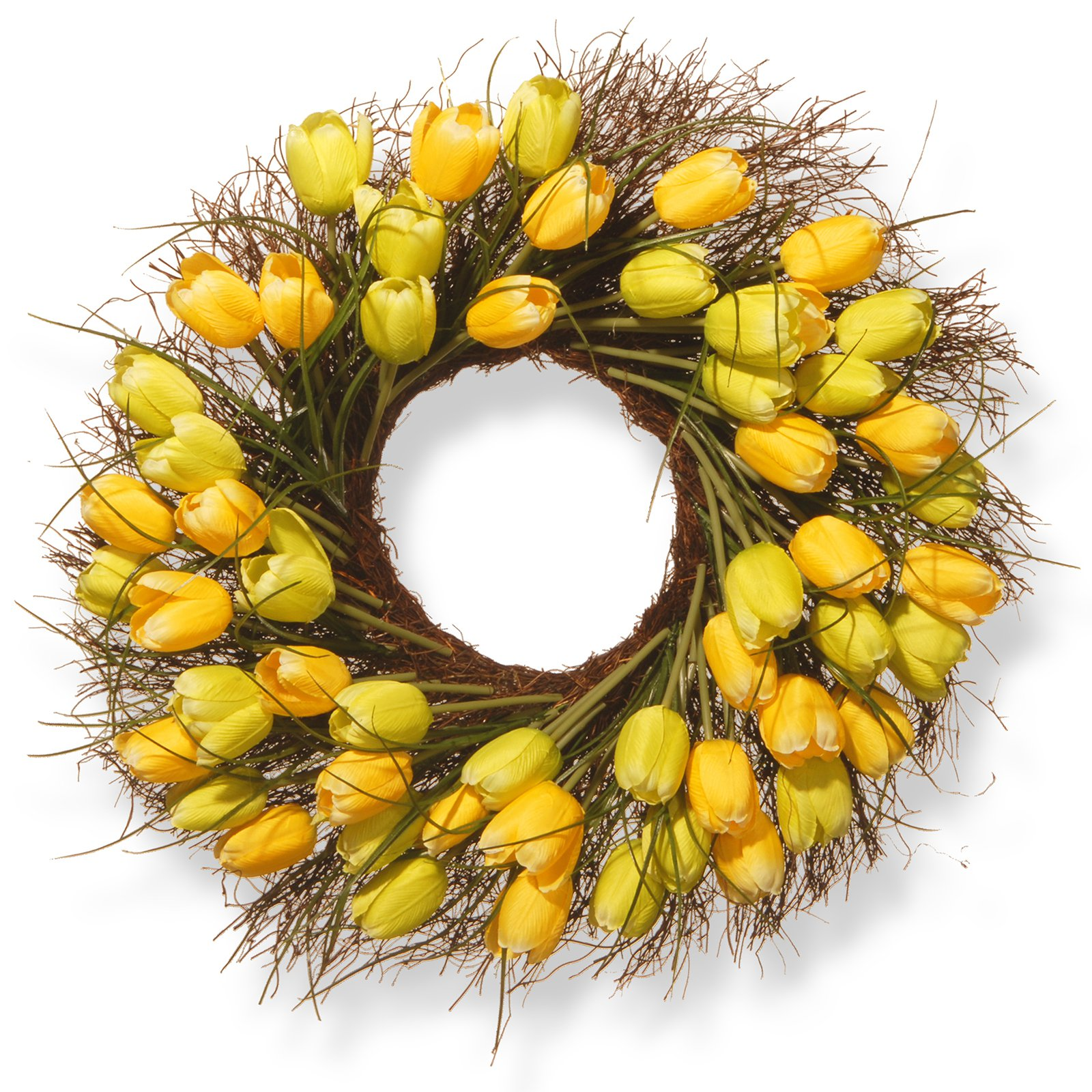 """National Tree Artificial 24"""" Yellow Tulip Wreath"""