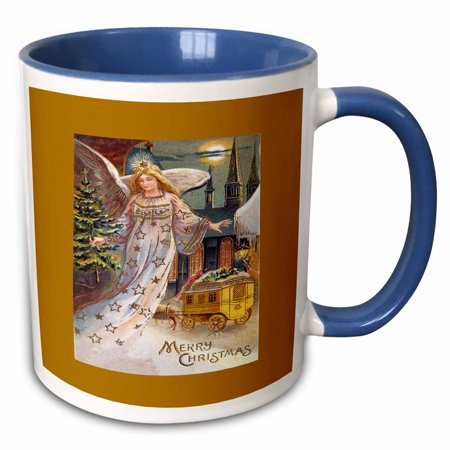 3dRose Christmas Angel with a Small Tree, Horse and Carriage in the Snow - Two Tone Blue Mug, 11-ounce