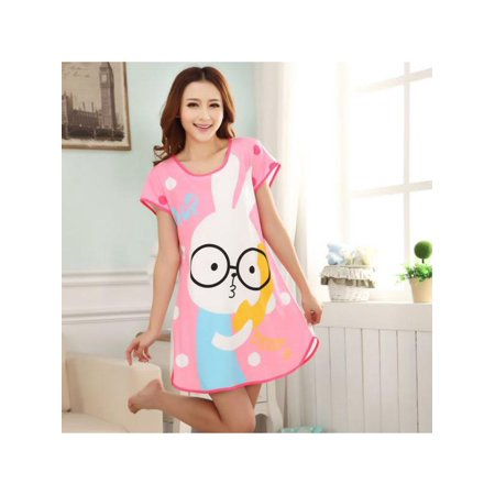 Maraso Women Summer Cute Cartoon Animal Short Sleeve One Piece Nightdress Sleepwear Within 65kg - Civil War Gowns For Sale