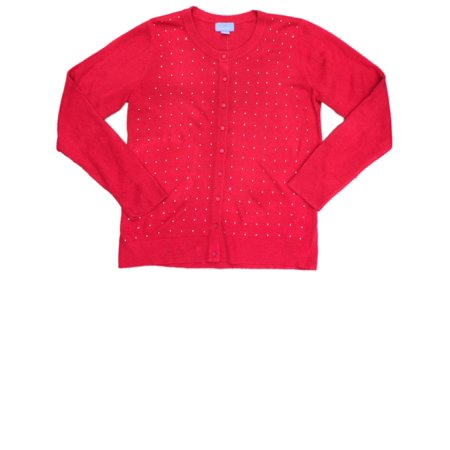 Womens Cherry Red Knit Bedazzled Sweater Casual Dress Cardigan (Red Sweater)
