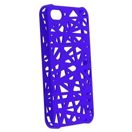 Hard Rubberized Snap Bird Nest Design Case for iPhone 4 / 4S - Purple