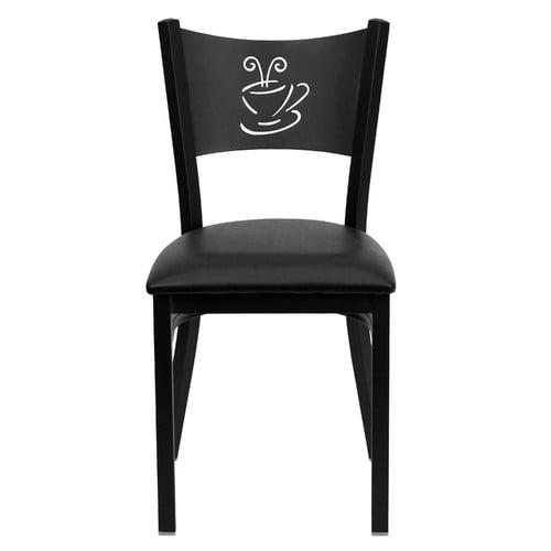 Flash Furniture Hercules Series Black Coffee Back Metal Restaurant Chair - Black Vinyl Seat - XU-DG-60099-COF-BLKV-GG