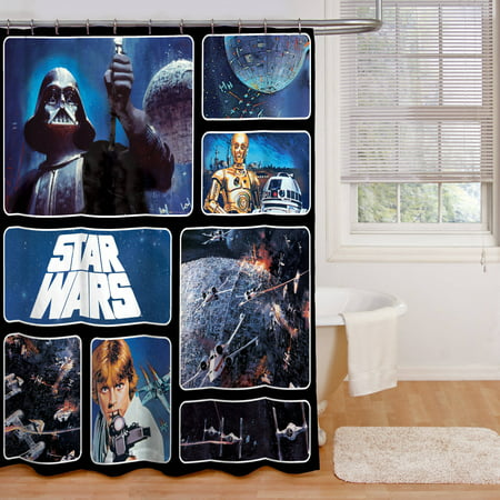 Star wars fabric shower curtain for Star material for curtains