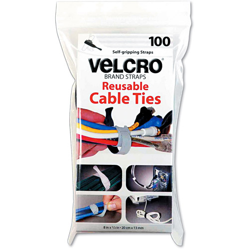 "Velcro Reusable Self-Gripping Cable Ties, 1/2"" x 8"" Long, Black, 100 Ties/Pack"