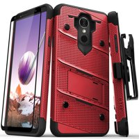 ZIZO BOLT Series LG Stylo 4 Case Military Grade Drop Tested with Tempered Glass Screen Protector, Holster, Kickstand RED BLACK
