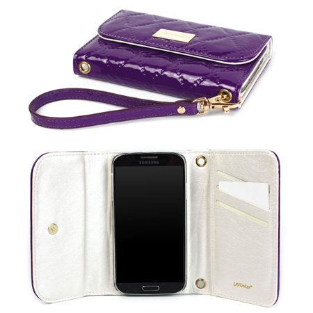 JAVOedge Vintage Quilted Clutch Wallet Case with Wristlet for the Samsung Galaxy S4 (Purple)